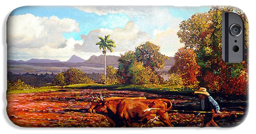 Cuban Art IPhone 6 Case featuring the painting Grandfather Farm by Jose Manuel Abraham