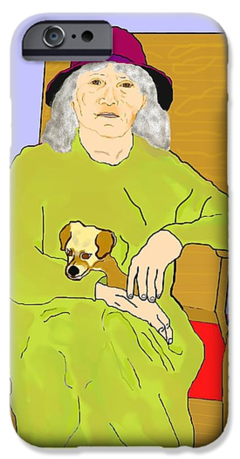 Grandmother IPhone 6 Case featuring the painting Grandma And Puppy by Pharris Art