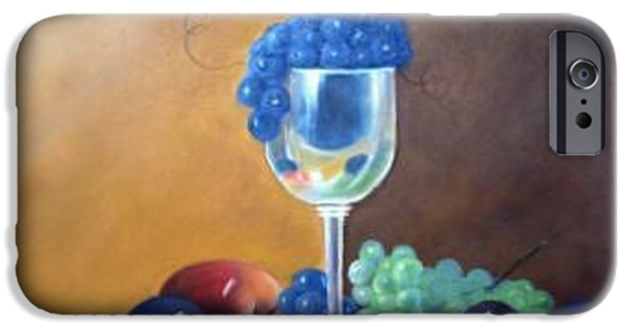 Wine Galsses With Grapes IPhone 6 Case featuring the painting Grapes And Plums by Susan Dehlinger