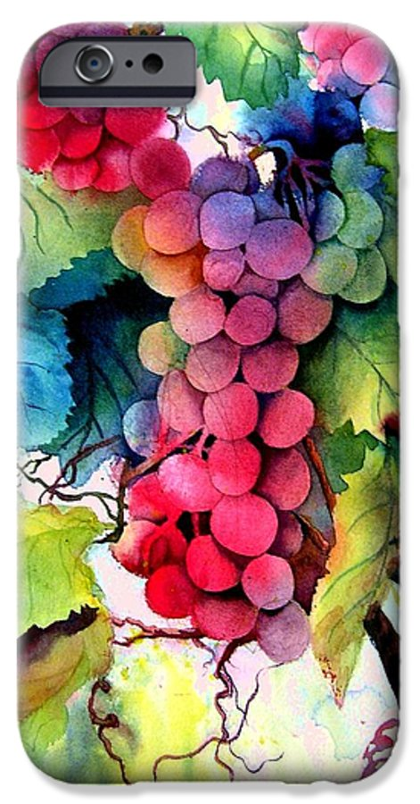 Grapes IPhone 6 Case featuring the painting Grapes by Karen Stark