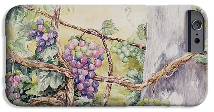 Vines IPhone 6 Case featuring the painting Grapevine Laurel Lakevineyard by Valerie Meotti