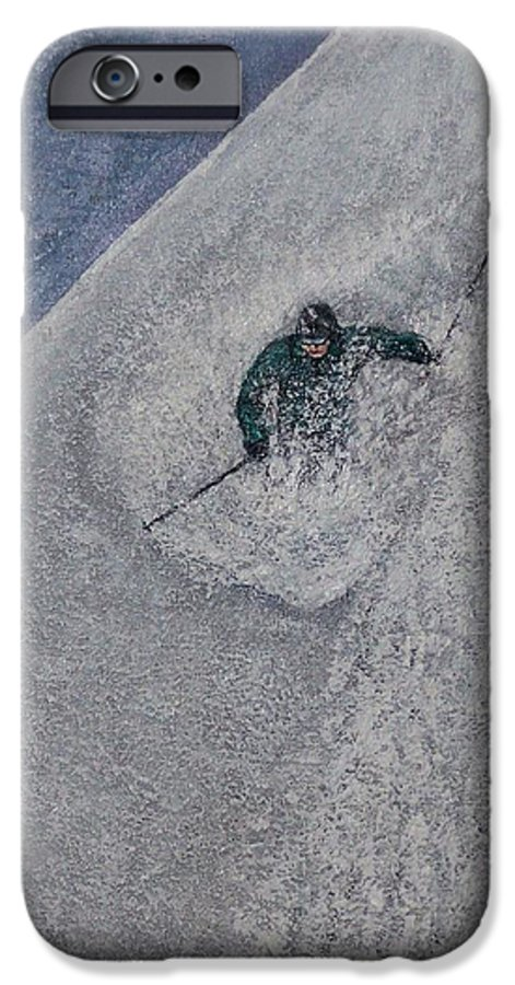 Ski IPhone 6 Case featuring the painting Gravity by Michael Cuozzo