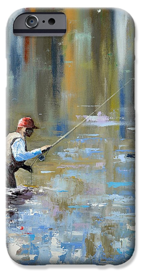 Flyfishing IPhone 6 Case featuring the painting Great Expectations by Glenn Secrest