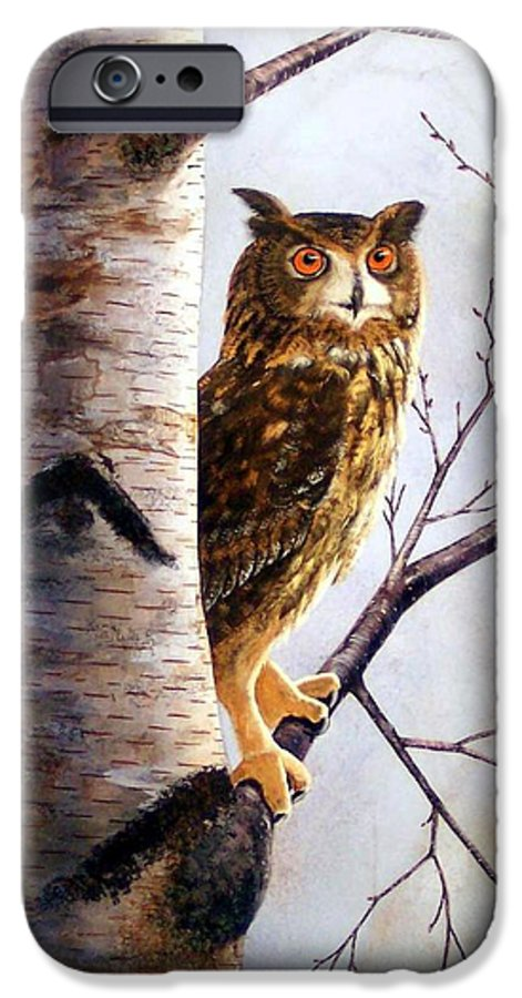 Great Horned Owl In Birch IPhone 6 Case featuring the painting Great Horned Owl In Birch by Frank Wilson
