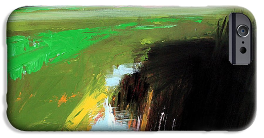 Abstract Landscape IPhone 6 Case featuring the painting Green Field by Mario Zampedroni