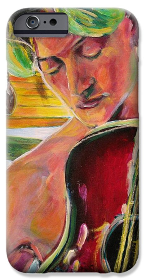Boy IPhone 6 Case featuring the painting Green Hair Red Bass by Dennis Tawes