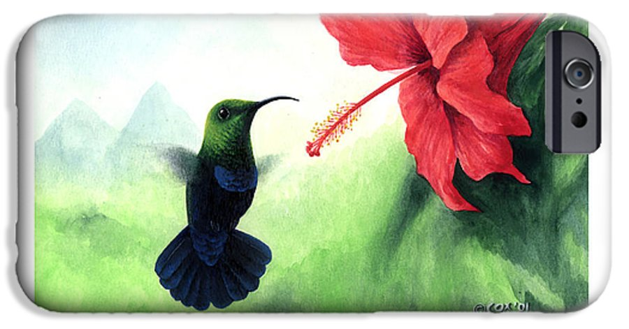 Chris Cox IPhone 6 Case featuring the painting Green-throated Carib Hummingbird And Red Hibiscus by Christopher Cox