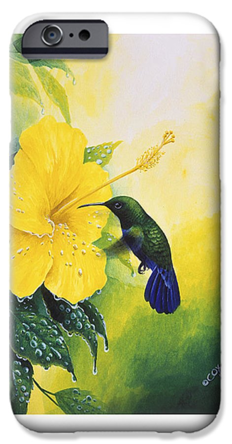 Chris Cox IPhone 6 Case featuring the painting Green-throated Carib Hummingbird And Yellow Hibiscus by Christopher Cox