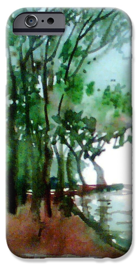 Water Color IPhone 6 Case featuring the painting Greens by Anil Nene