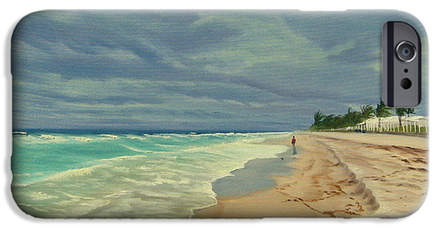 Beach IPhone 6 Case featuring the painting Grey Day On The Beach by Lea Novak