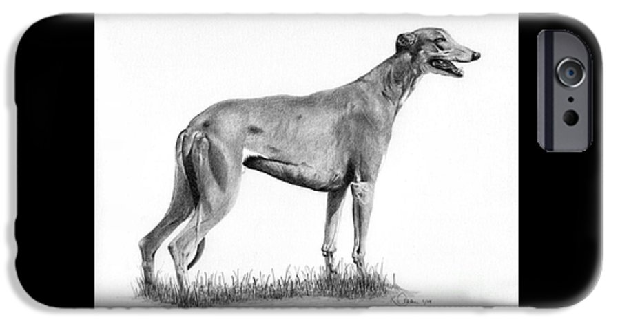 Dog IPhone 6 Case featuring the drawing Greyhound by Karen Townsend