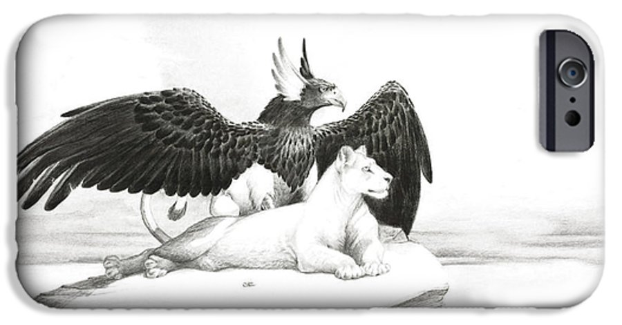 Griffin IPhone 6 Case featuring the painting Griffin And Lioness by Melissa A Benson