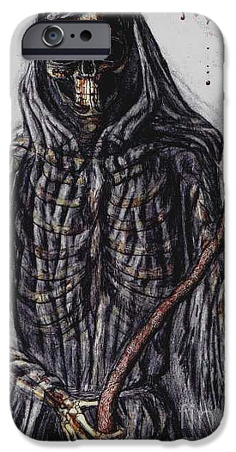 Grim Reaper IPhone 6 Case featuring the drawing Grim Reaper Colored by Katie Alfonsi