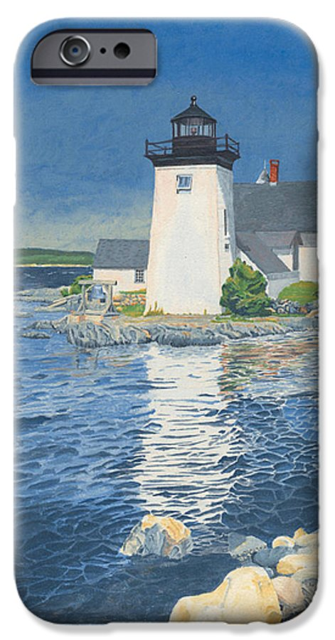 Lighthouse IPhone 6 Case featuring the painting Grindle Point Light by Dominic White