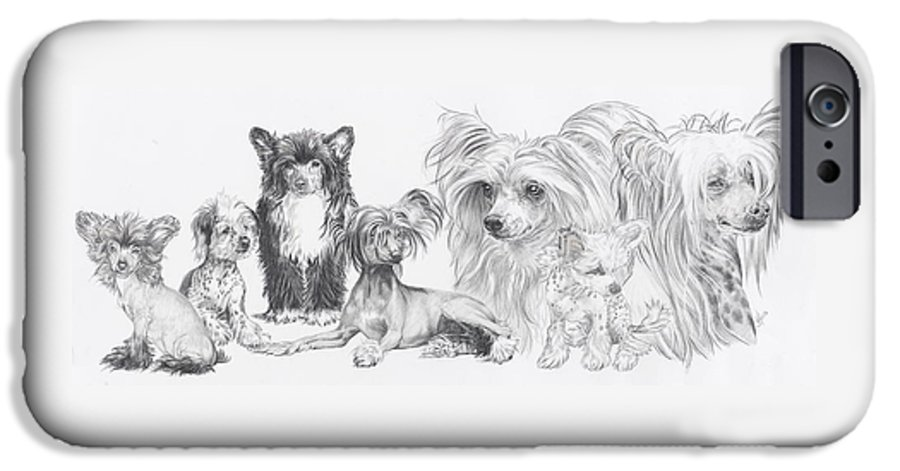 Dog IPhone 6 Case featuring the drawing Growing Up Chinese Crested And Powderpuff by Barbara Keith
