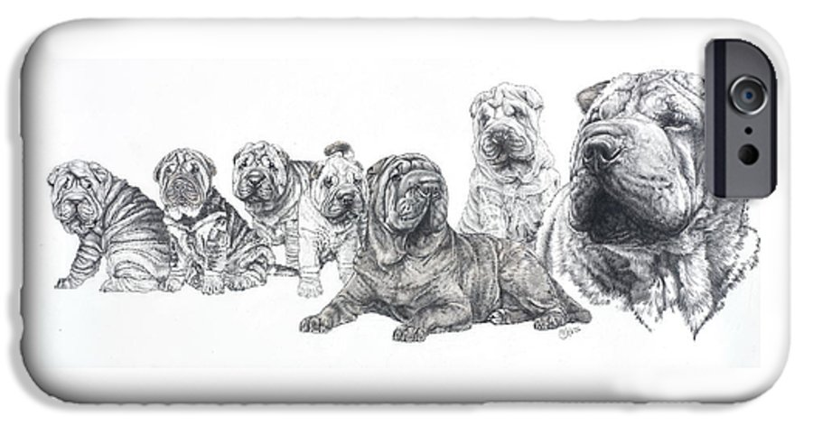 Non-sporting Group IPhone 6 Case featuring the drawing Growing Up Chinese Shar-pei by Barbara Keith