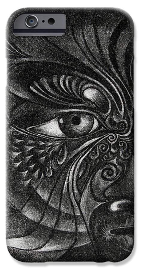 Mezzotint IPhone 6 Case featuring the drawing Guardian Cherub by Otto Rapp