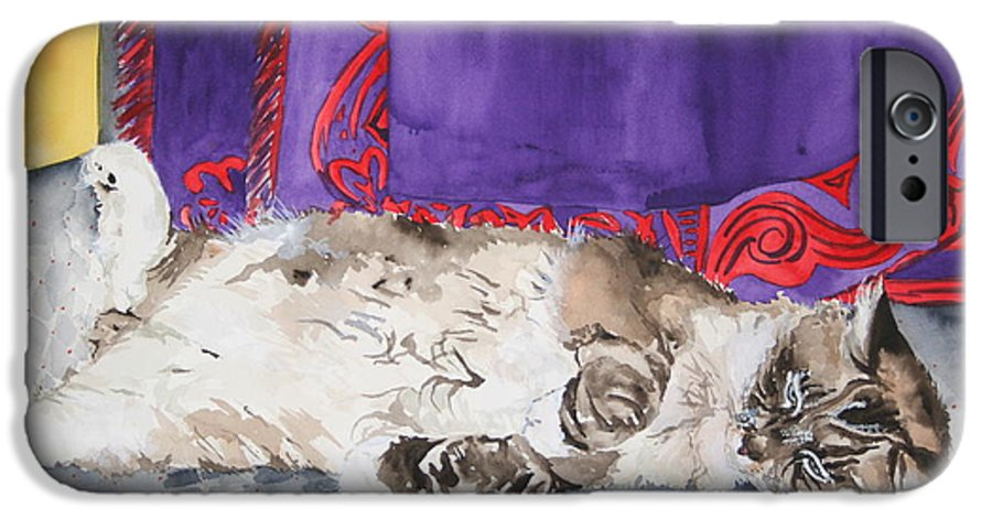 Cat IPhone 6 Case featuring the painting Guilley by Jean Blackmer