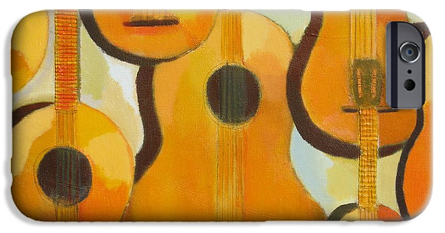 Abstract IPhone 6 Case featuring the painting Guitars by Habib Ayat