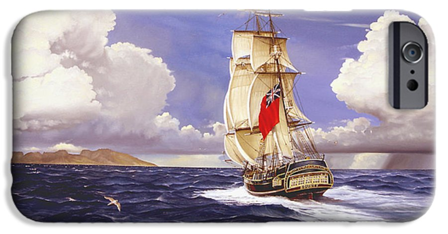 Marine IPhone 6 Case featuring the painting H. M. S. Bounty At Tahiti by Marc Stewart