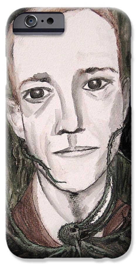 Artist Cthulhu Darkest Darkestartist Fiction H Horror Hp Lovecraft Macabre Man Mythos P Painting Por IPhone 6 Case featuring the painting H P Lovecraft by Darkest Artist