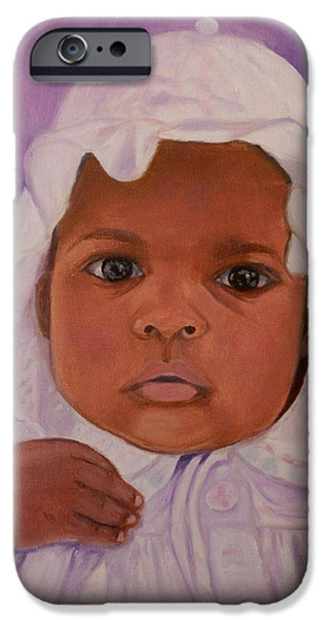 Haiti IPhone 6 Case featuring the painting Haitian Baby Orphan by Quwatha Valentine