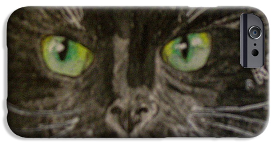Halloween IPhone 6 Case featuring the painting Halloween Black Cat I by Kathy Marrs Chandler