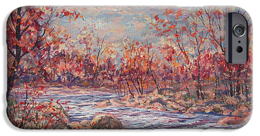 Landscape IPhone 6 Case featuring the painting Happy Autumn Days. by Leonard Holland