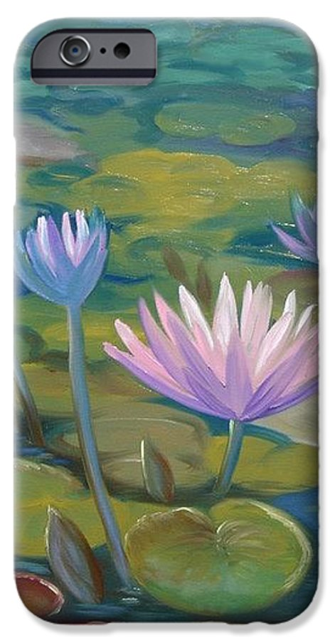 Pond IPhone 6 Case featuring the painting Happy Lilies by Tan Nguyen