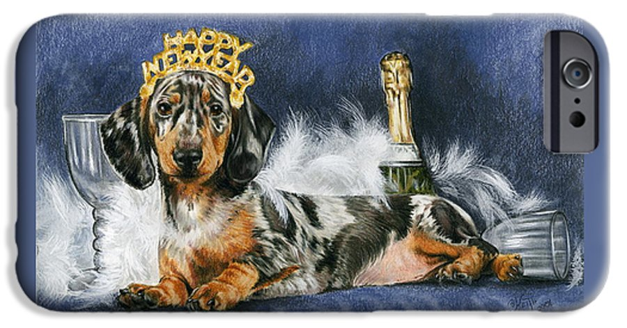 Dog IPhone 6 Case featuring the mixed media Happy New Year by Barbara Keith