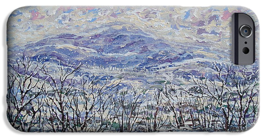 Landscape IPhone 6 Case featuring the painting Happy Winter. by Leonard Holland