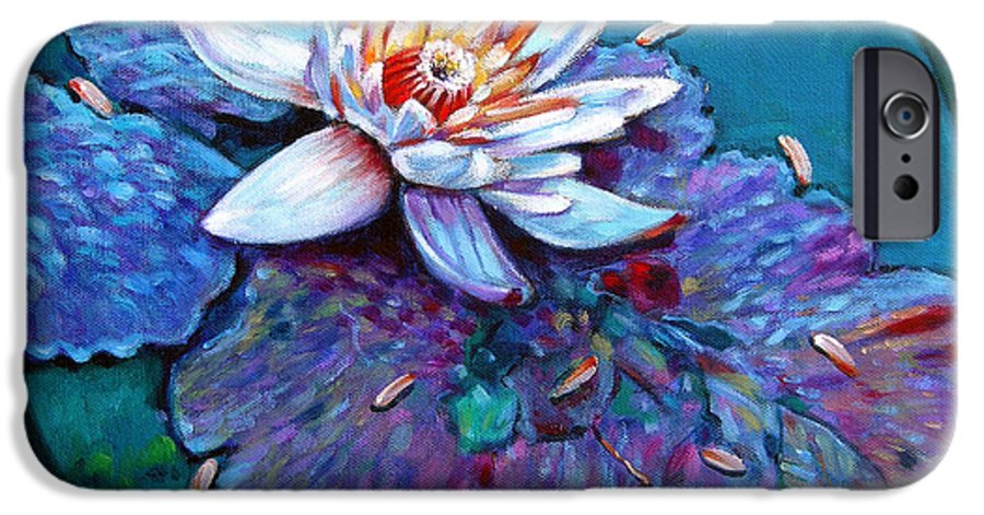 Water Lily IPhone 6 Case featuring the painting Harvest Moon by John Lautermilch