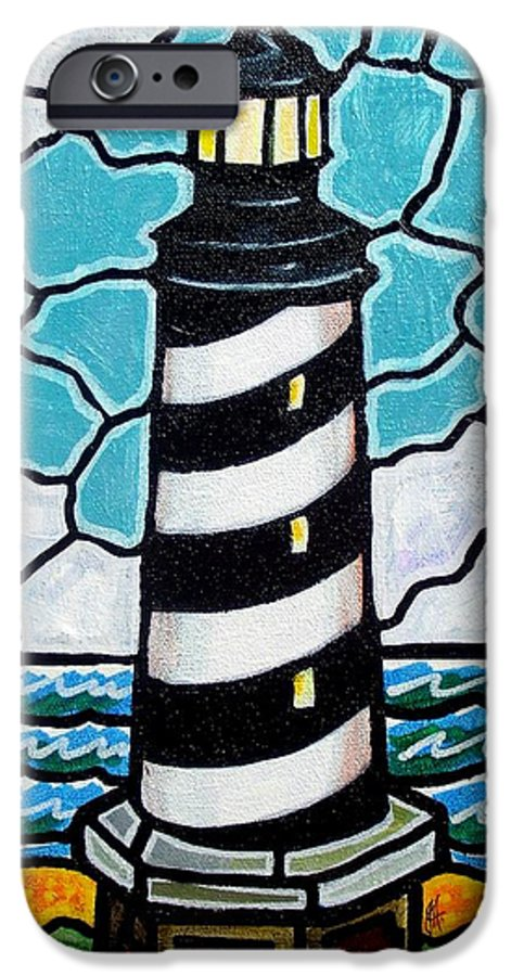 Lighthouse IPhone 6 Case featuring the painting Hatteras Island Lighthouse by Jim Harris