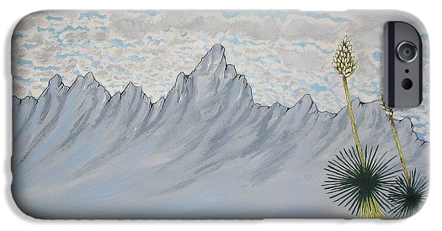 Desertscape IPhone 6 Case featuring the painting Hazy Desert Day by Marco Morales