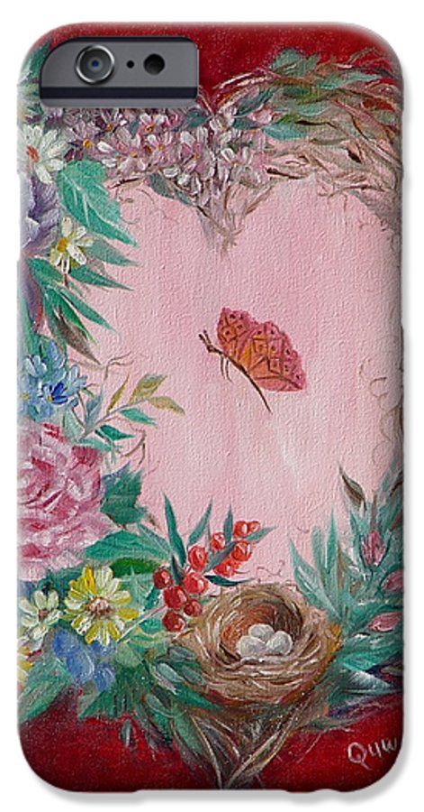 Heart IPhone 6 Case featuring the painting Heart Wreath by Quwatha Valentine