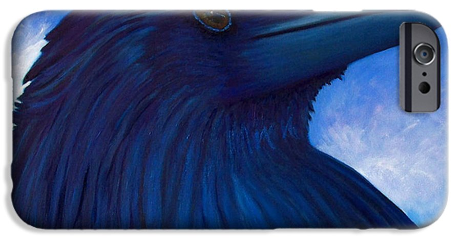 Raven IPhone 6 Case featuring the painting Heaven Bound by Brian Commerford
