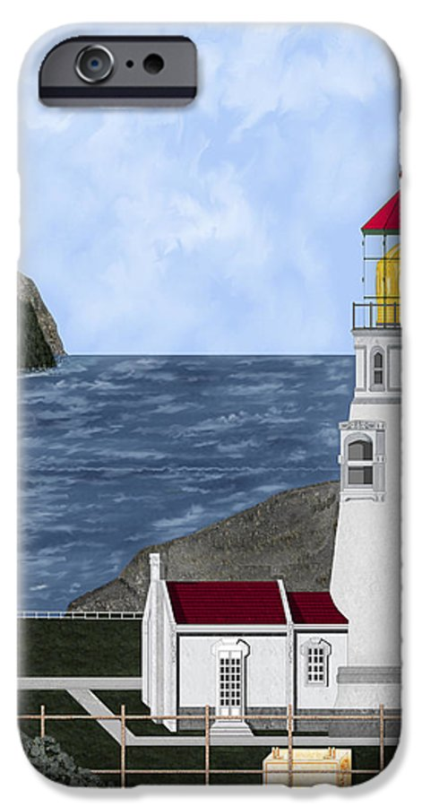Lighthouse IPhone 6 Case featuring the painting Heceta Head Oregon by Anne Norskog