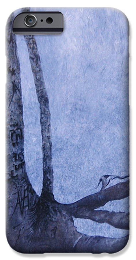 Tree Trunk IPhone 6 Case featuring the painting Hedden Park II by Leah Tomaino