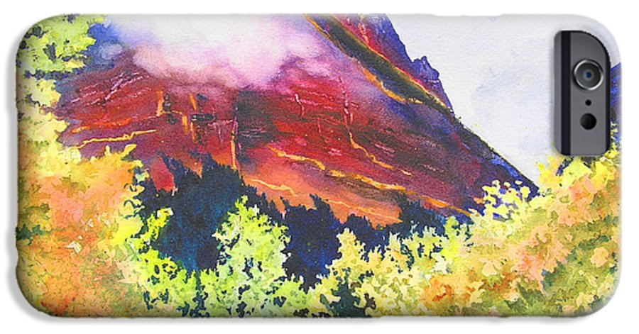 Mountain IPhone 6 Case featuring the painting Heights Of Glacier Park by Karen Stark