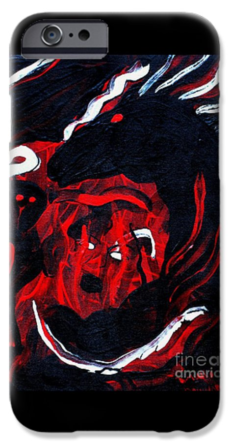 Horse Woman Red Black Silver IPhone 6 Case featuring the painting Hell Beast by Dawn Downour