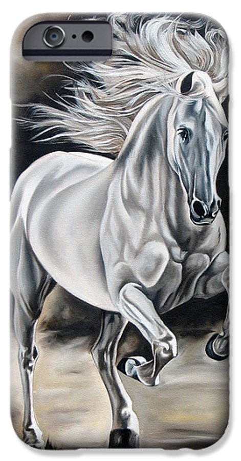 Horse IPhone 6 Case featuring the painting Hereje by Ilse Kleyn