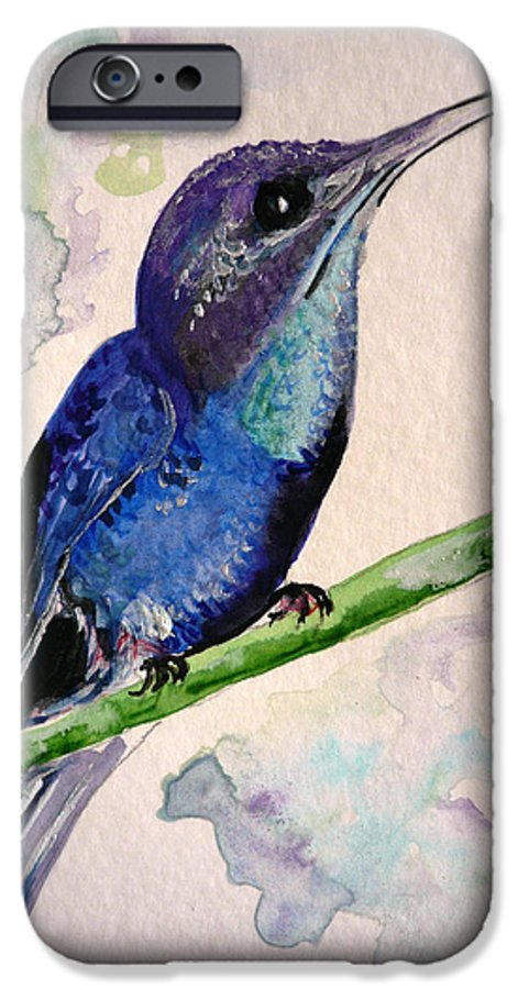 Hummingbird Painting Bird Painting Tropical Caribbean Painting Watercolor Painting IPhone 6 Case featuring the painting hHUMMINGBIRD 2  by Karin Dawn Kelshall- Best