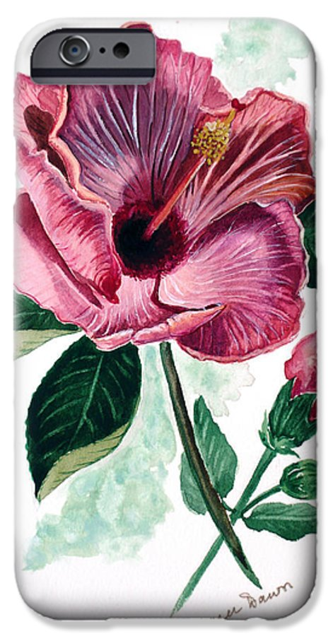 Flora Painting L Hibiscus Painting Pink Flower Painting Greeting Card Painting IPhone 6 Case featuring the painting Hibiscus Dusky Rose by Karin Dawn Kelshall- Best
