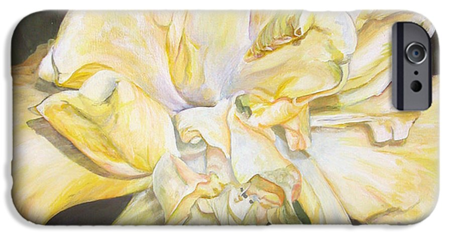Floral Painting IPhone 6 Case featuring the painting Hibiscus Jaune by Muriel Dolemieux