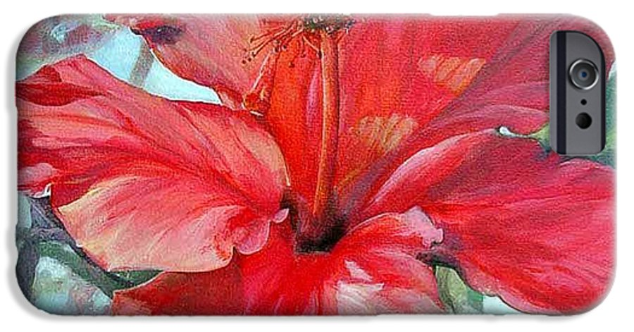 Floral Painting IPhone 6 Case featuring the painting Hibiscus Rouge by Muriel Dolemieux