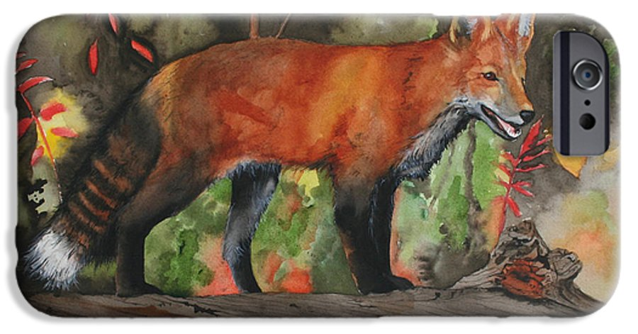 Fox IPhone 6 Case featuring the painting Hiding In Plain Sight by Jean Blackmer
