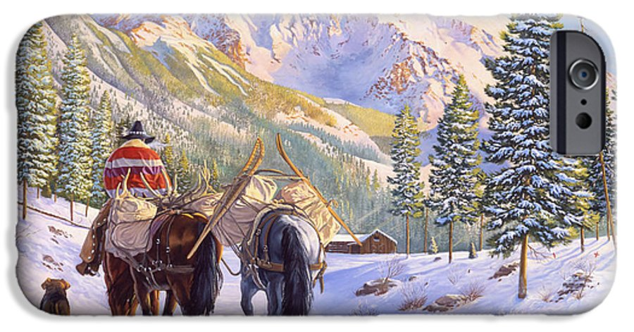 Horses IPhone 6 Case featuring the painting High Country by Howard Dubois
