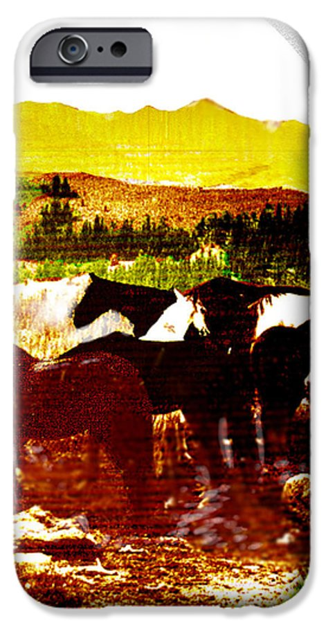 Mustangs IPhone 6 Case featuring the digital art High Plains Horses by Seth Weaver