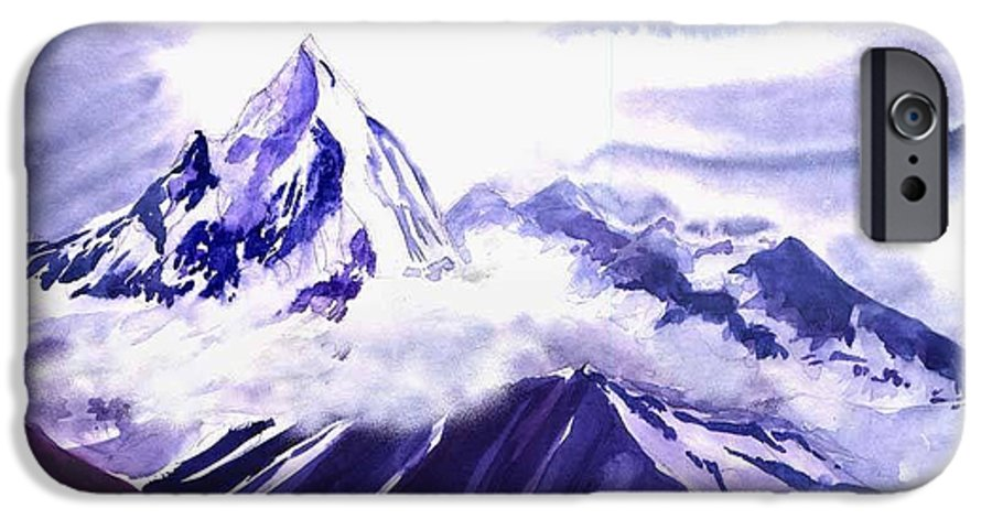 Landscape IPhone 6 Case featuring the painting Himalaya by Anil Nene