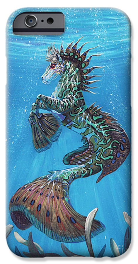 Seahorse IPhone 6 Case featuring the painting Hippocampus by Stanley Morrison